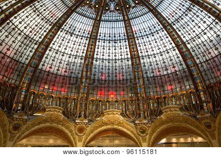PARIS, FRANCE - SEPTEMBER 10, 2015: Galeries Lafayette interior in Paris. The architect Georges Chedanne designed the store where a Art Nouveau glass and steel dome