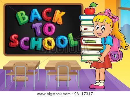 Girl holding books theme image 3 - eps10 vector illustration.
