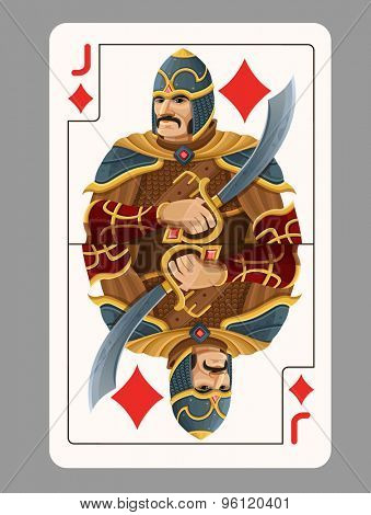 Jack of diamonds playing card. Vector illustration