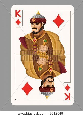 King of diamonds playing card. Vector illustration
