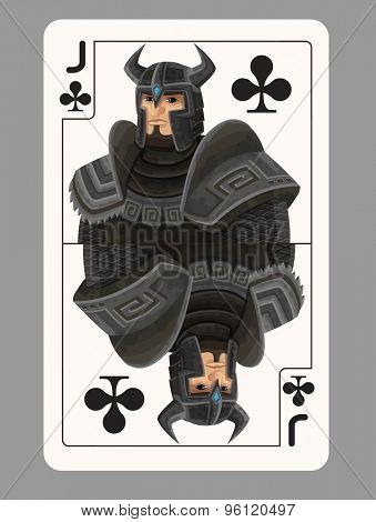 Jack of clubs playing card. Vector illustration