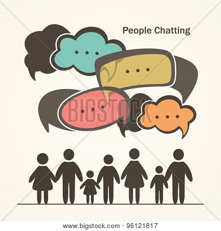 People with colorful dialog speech bubbles.