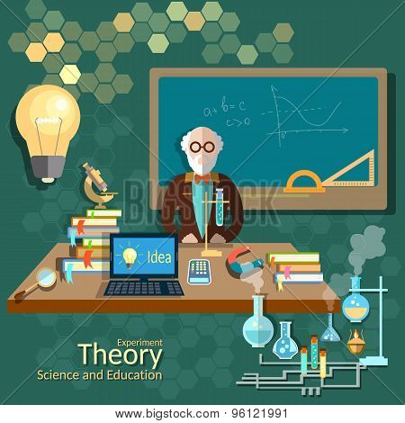 Science And Education, Teacher Classroom, Professor, University, College, vector illustration