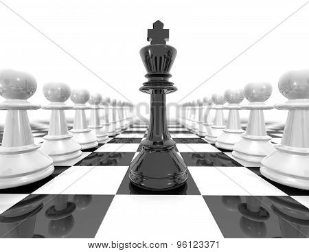 Chess Set Strategy Black And White Illustration With Pawns.