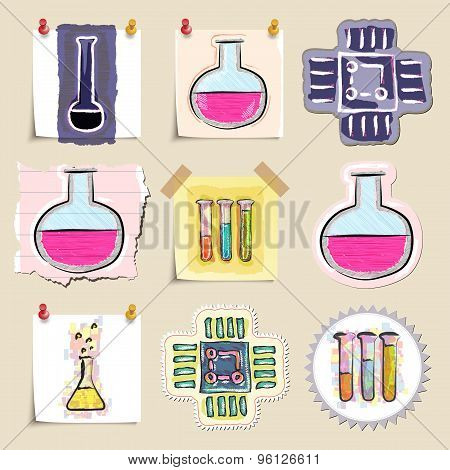 Hand drawn science and laboratory emblems set. Isolated