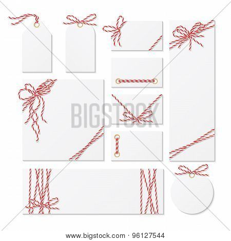 Cards, Tags And Labels With Gift Bows Ribbons