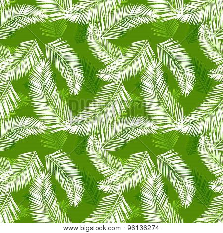 Tropical palm leaves seamless vector pattern