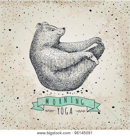 llustration of bear isolated onvintage background. mormimg yoga