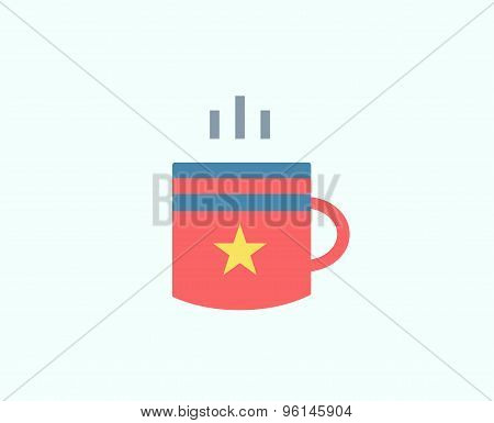 Red Cup vector icon isolated. Tea objects, or drink and food symbol. Stock design element