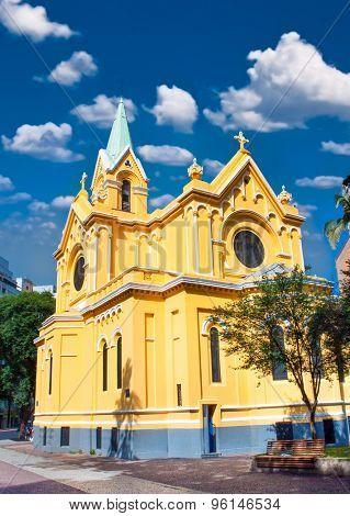 Igreja Nossa Senhora do Ros���¡rio church in  Av. Rio Branco, Sao Paulo, Brazil. It was built by the Irmandade dos Homens Pretos, an Afro-Brazilian confraternity, in 1906.