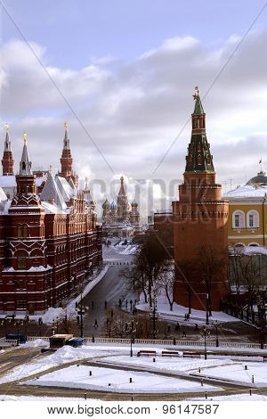 Panorama of Manege Square, State Historic Museum and cathedral of Vasiliy Beatific
