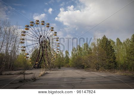 The abandoned Ferris wheel in the amusement park in Pripyat. Chernobyl nuclear power plant zone of alienation poster