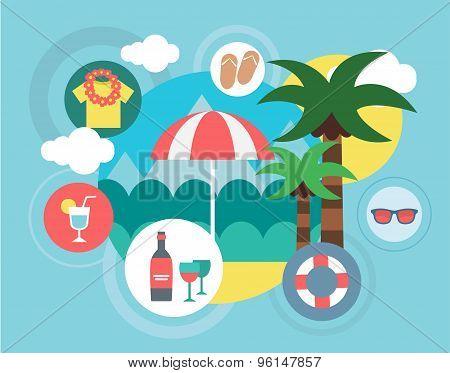 Travel on the Island vector illustration. Umbrella, Sea and Palm symbols. Stock design elements.