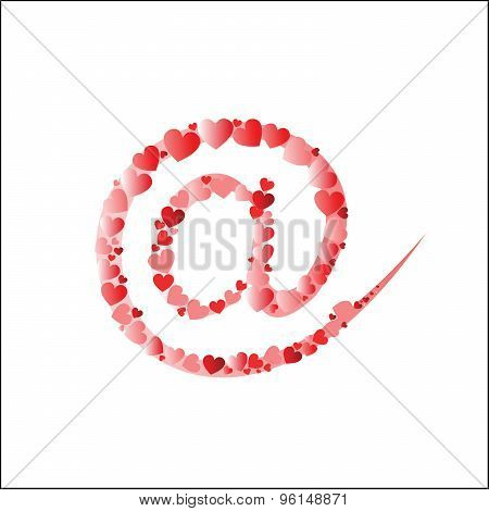 Email symbol from heart