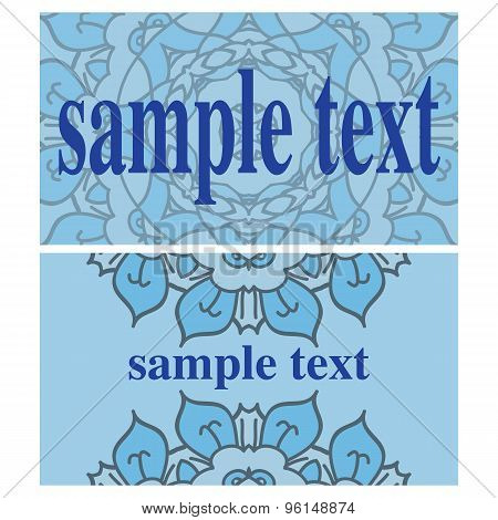 Two blue vector cards with ornamental mandalas