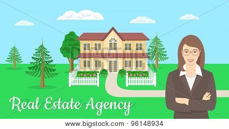 Vector flat stylized horizontal illustration of a realtor, real estate agent, attractive young smiling woman standing with crossed arms in front of the landscape of a country house. poster