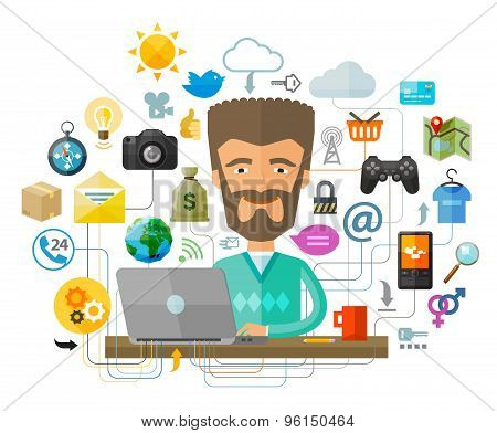 A man with a beard behind the laptop on the Internet. Vector illustration
