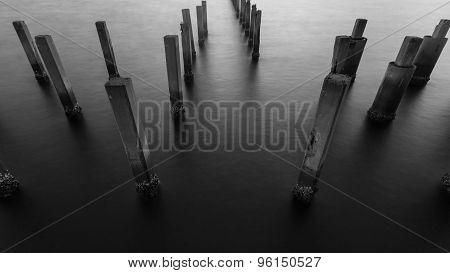 Black and White of Fence protect sandbank