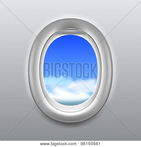Sky In Aircraft Window Vector Background