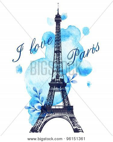Romantic background with blue watercolor blots and Eiffel Tower poster