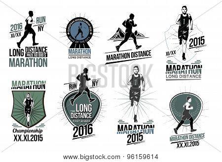 Set on athletics logos, labels, emblems and design elements.