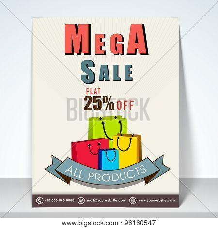 Mega sale flyer with 25% flat off on all products with mailer.