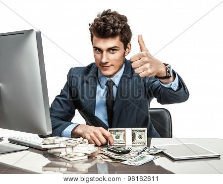 Cheerful Chief Showing Thumbs Up Success Sign