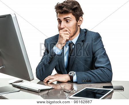 Operator Looking At Computer Screen With Horror