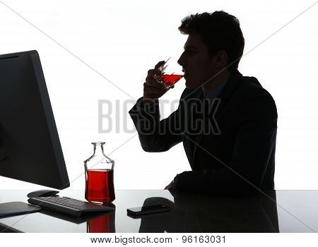Silhouette Of Alcoholic Drunk Young Man Drinking Rum