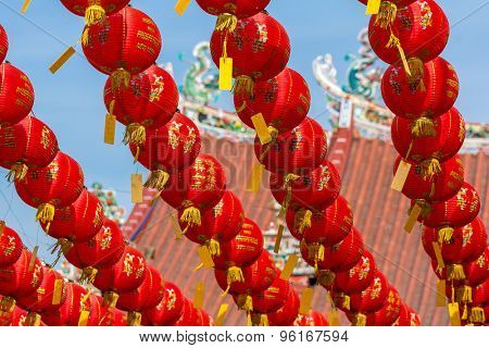Chinese New Year red and yellow paper lanterns in Kuan Yin Temple, Penang, Malaysia