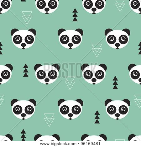 Seamless geometric kids cute little gender neutral panda bear illustration background pattern in vector