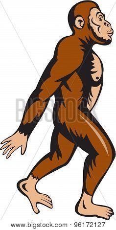 Neanderthal Man Walking Side Cartoon
