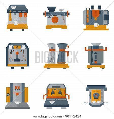 Coffee machines flat color vector icons