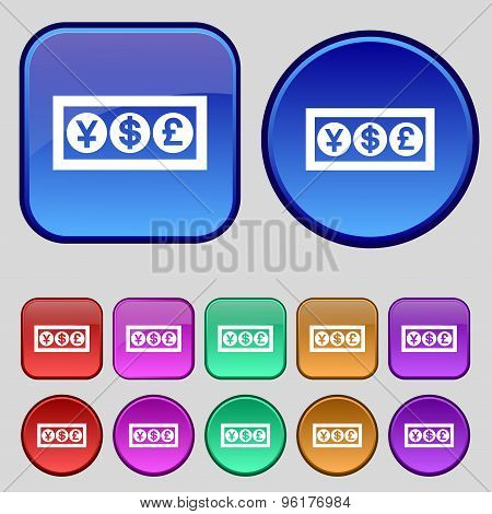 Cash Currency Icon Sign. A Set Of Twelve Vintage Buttons For Your Design. Vector