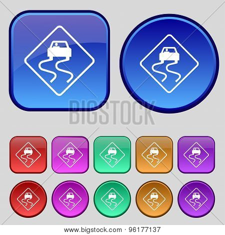 Road Slippery Icon Sign. A Set Of Twelve Vintage Buttons For Your Design. Vector
