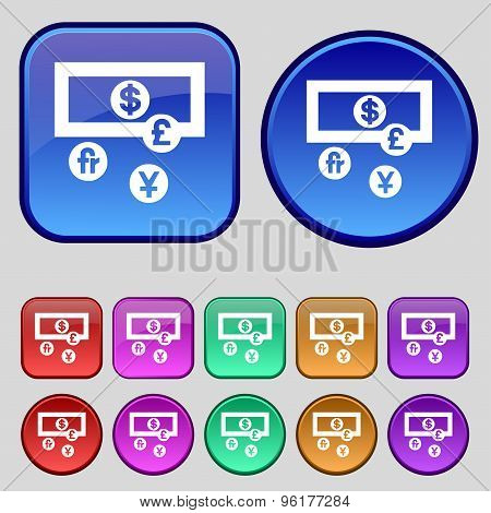 Currencies Of The World Icon Sign. A Set Of Twelve Vintage Buttons For Your Design. Vector