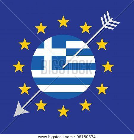 Greece Crisis Vector Concept Design.  Threat To The Euro Zone.