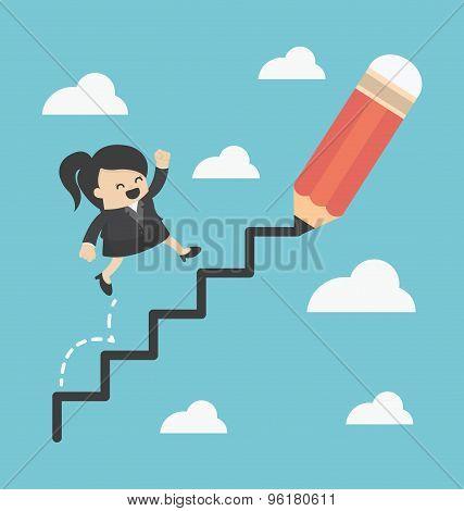 Business Woman Climbing Ladder Of Success