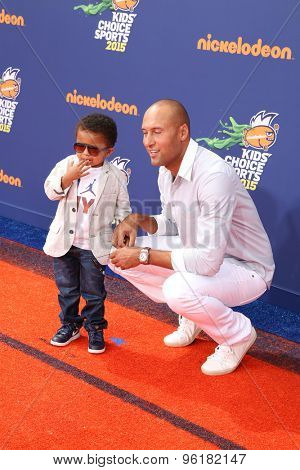 LOS ANGELES - JUL 16:  Jalen Jeter, Derek Jeter at the 2015 Kids' Choice Sports at the UCLA's Pauley Pavilion on July 16, 2015 in Westwood, CA