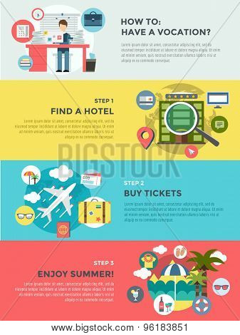 Vocation summer travel infographic. Summer, holiday and sea. Vector stock illustrations for design