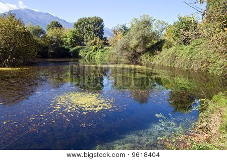 Lake near ancient Dion at Greece with mountain of Olympus on the background