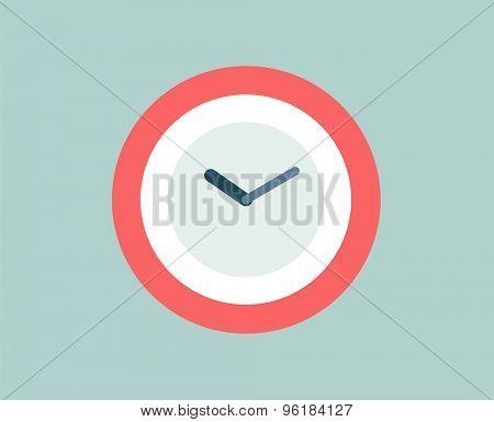 Red Clock vector icon isolated. Watch objects, or time and office symbol. Stock design element.