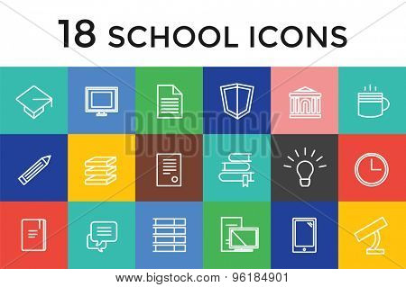 Back to school 16 vector icons set. Science objects, or university and college symbols. Stock design elements.