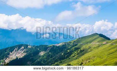 Scenic of Mountain on heaven above the ground. Good background for you to put text or people on the ground. poster