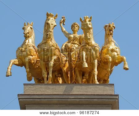 Golden Statue In Park Citadel