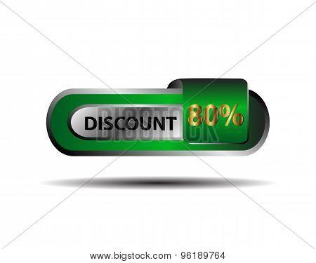 80 percent discount icon vector design template.