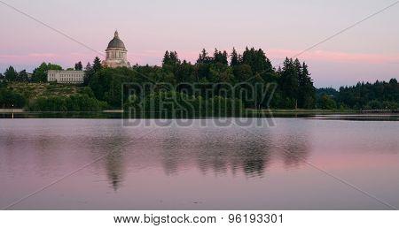 Government Building Capital Lake Olympia Washington Sunset Dusk