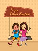 Cute little brother and sister swinging and enjoying Raksha Bandhan festival. poster