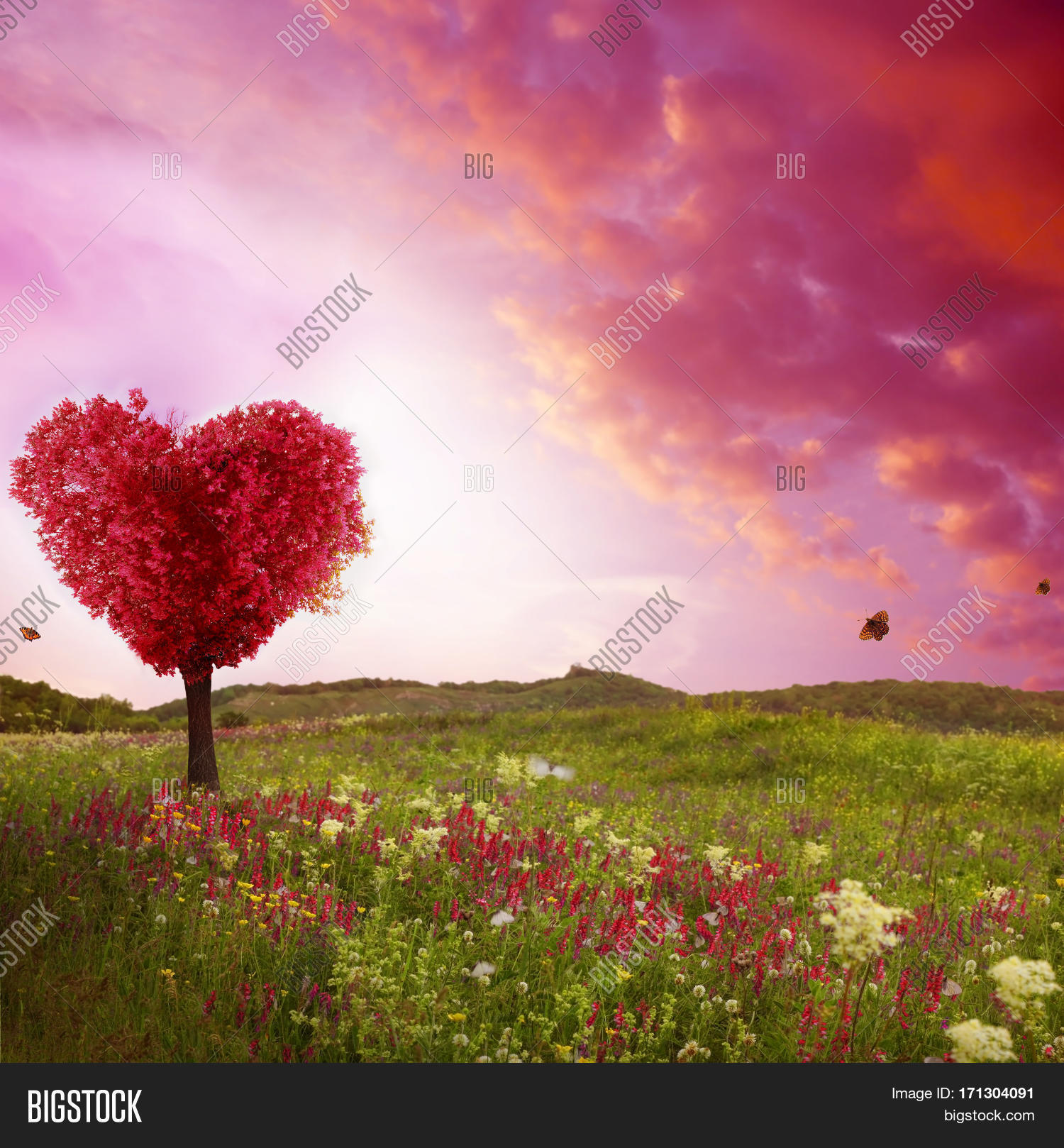 Tree Love Spring Red Image Photo Free Trial Bigstock