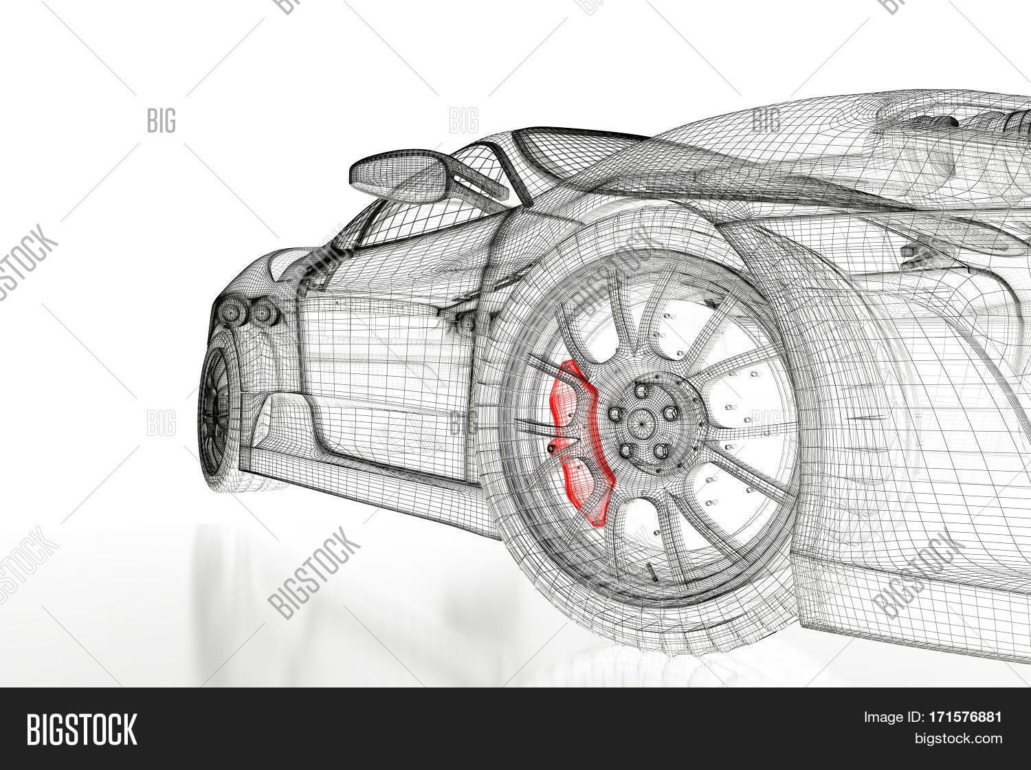 Car vehicle 3d image photo free trial bigstock car vehicle 3d blueprint mesh model with a red brake caliper on a white background malvernweather Gallery